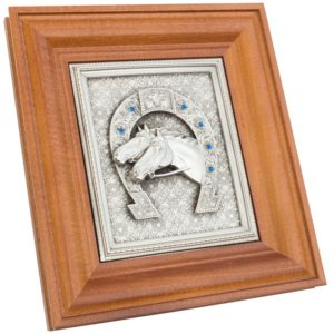 Панно «Подкова» с изображением двух лошадей