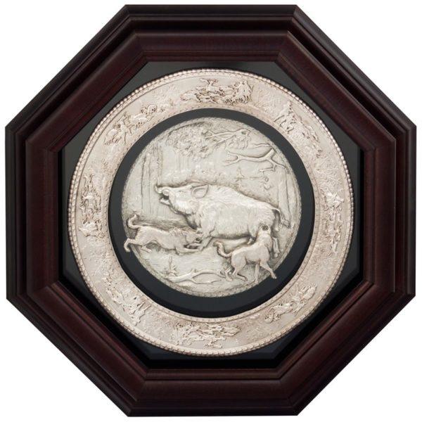 Панно «Охота на кабана» с серебрением