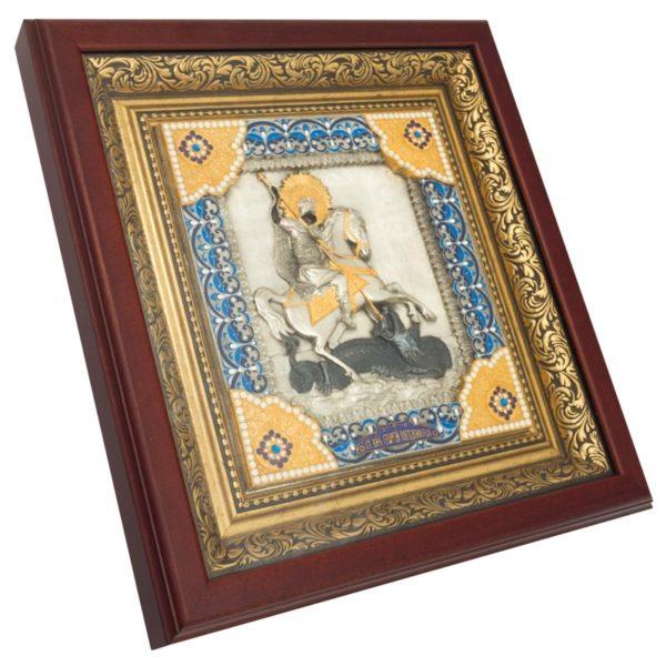 Икона святой Георгий Победоносец в ризе с камнями
