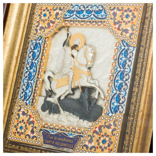 Подарочная Икона святой Георгий Победоносец с ювелирными эмалями