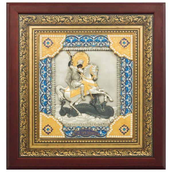 Подарочная Икона святой Георгий Победоносец с ювелирными камнями