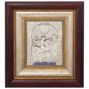 Икона святой Георгий Победоносец в серебряной ризе