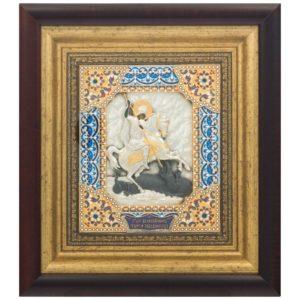 Подарочная икона святой Георгий Победоносец в ризе