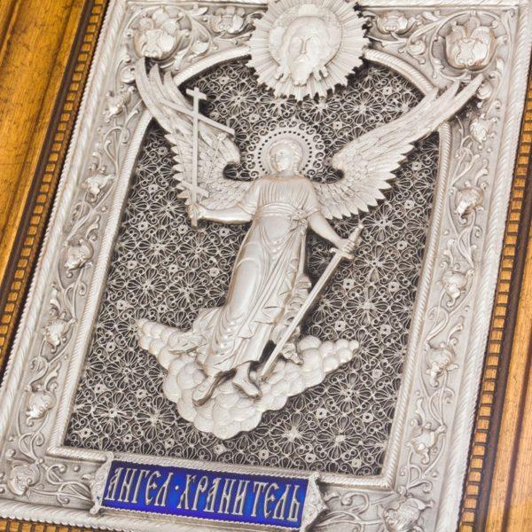 Икона святой Ангел Хранитель, скань