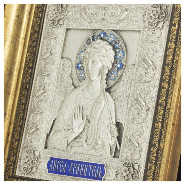 Икона святой Ангел Хранитель с серебрением