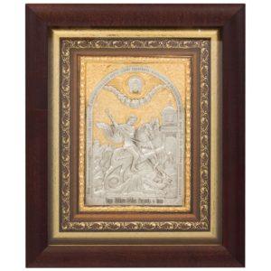 Подарочная икона святой Георгий Победоносец в ризе с золочением