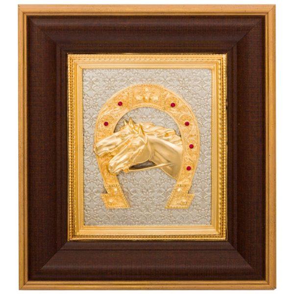 Панно «Подкова» золотые лошади