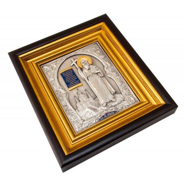 Подарочная икона «Андрей Первозванный на фоне Андреевской церкви»