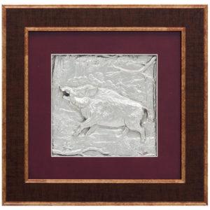 Подарочное настенное панно «Охота на кабана» серебрением