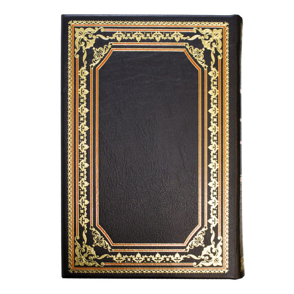 Оборотная сторона подарочной книги в кожаном переплете