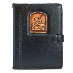 Подарочный ежедневник «Георгий Победоносец - символ мужества» малый кожаный