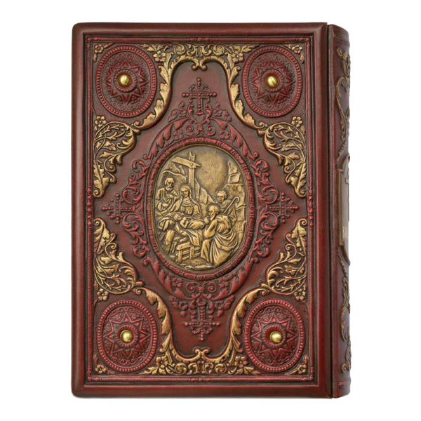 Книга «Библия: Священное Писание Ветхого и Нового Завета» в коже с гравюрами на обложке