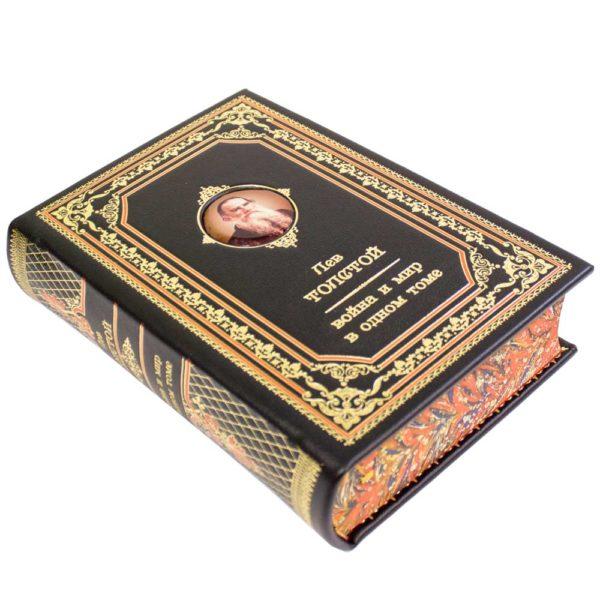 Книга «Лев Толстой: Война и мир» в одном томе для подарка в коже