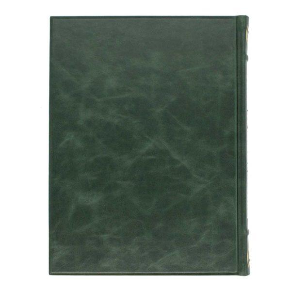 Кожаный переплет книги зеленого цвета