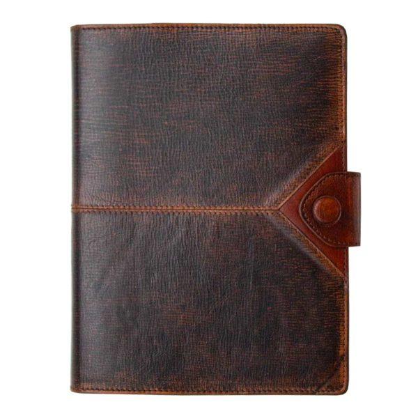 Кожаный ежедневник «Бомбер» коричневый (жатая кожа)